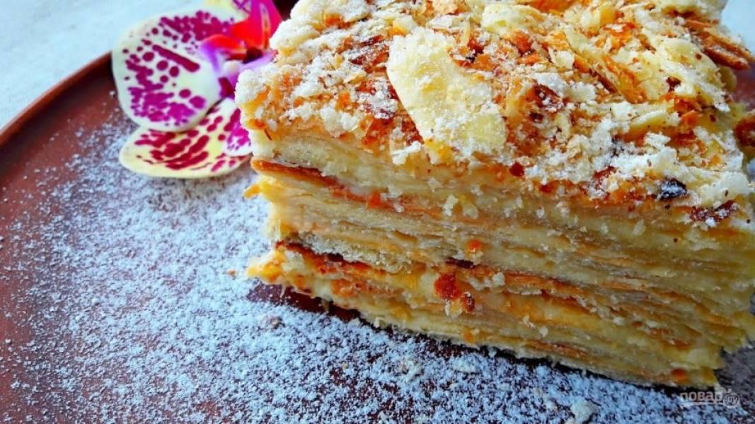 7. Перемажьте коржи кремом и посыпьте измельченными орехами. Оставьте торт на ночь в комнате, накрыв его пищевой пленкой или полотенцем. Приятного аппетита!
