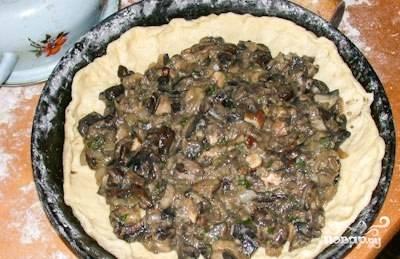 Выложите готовую и немного остывшую начинку на тесто.