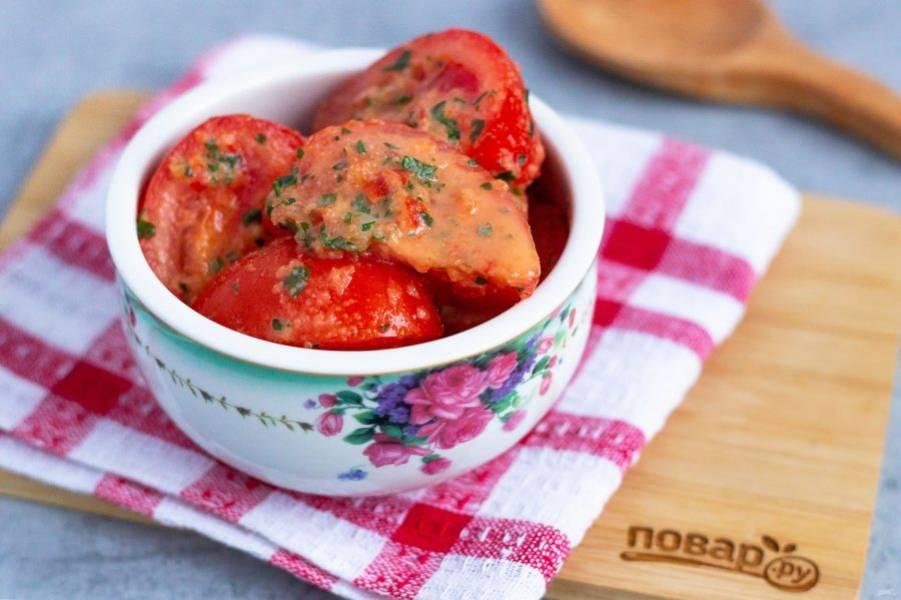 Наши ароматные и вкусные помидорки готовы! Летом готовьте такую закуску чаще. Приятного аппетита!