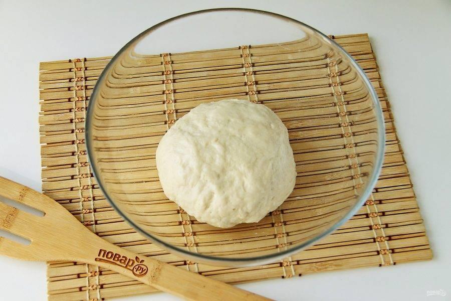 Замесите тесто, соберите его в шар, смажьте маслом, накройте и уберите в теплое место для подъема примерно на 1 час.