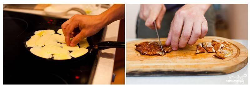 Сыр сулугуни нарезаем на тонкие пластинки и обжариваем в оливковом масле на быстром огне. Обжариваем до золотистости с одной стороны, переворачиваем, обжариваем до золотистости с другой.