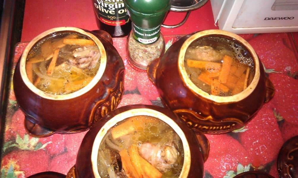 Солим и перчим по вкусу, заливаем водой (до половины). Накрываем горшочки крышкой и ставим в разогретую духовку на 1 час.