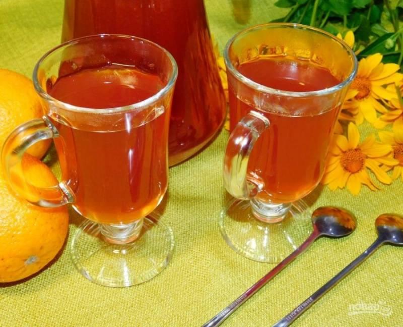 Процедите чай и добавьте сахар по вкусу. Пейте горячим или охладите. Приятного чаепития!