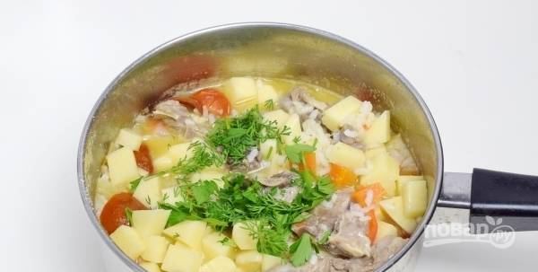 Зелень промойте и мелко нарубите. За несколько минут до готовности блюда бросьте укроп и петрушку в суп, перемешайте, накройте крышкой и дайте ему настояться в течение получаса.