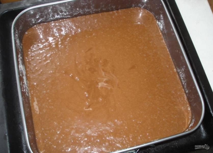 Форму для выпечки смажьте немного растительным маслом и присыпьте мукой. Влейте в форму тесто.