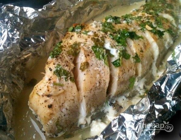 Треска в фольге в духовке готова. Приятного аппетита!
