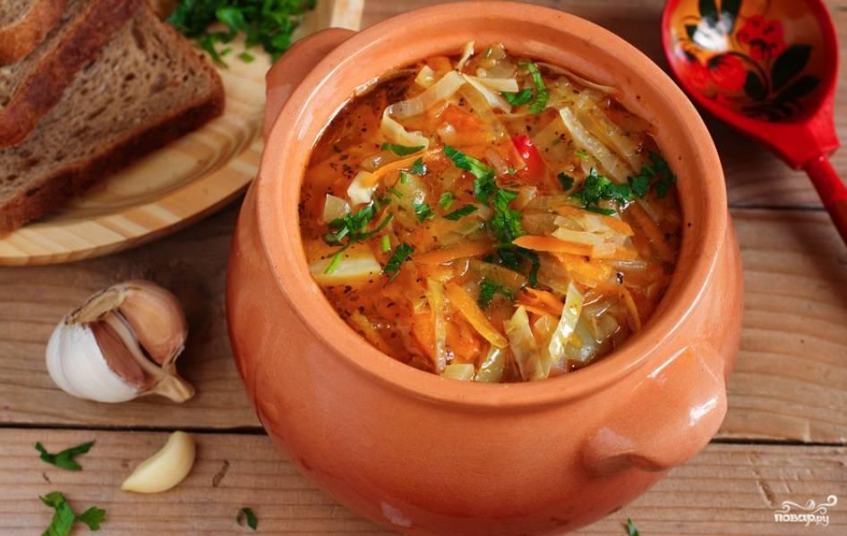 Готовому супчику дайте настояться 20 минут под крышкой. Украшаем суп свежей зеленью и подаем к столу. Приятного аппетита!