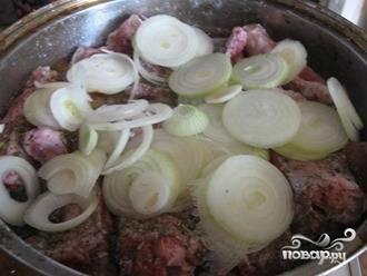 Укладываем мясо и лук слоями в кастрюлю (это необязательно, но перемешается потом равномернее).  Добавляем соль, специи. Заливаем содержимое кастрюли водой — в идеале, мясо должно быть чуть прикрыто маринадом. Перемешиваем.