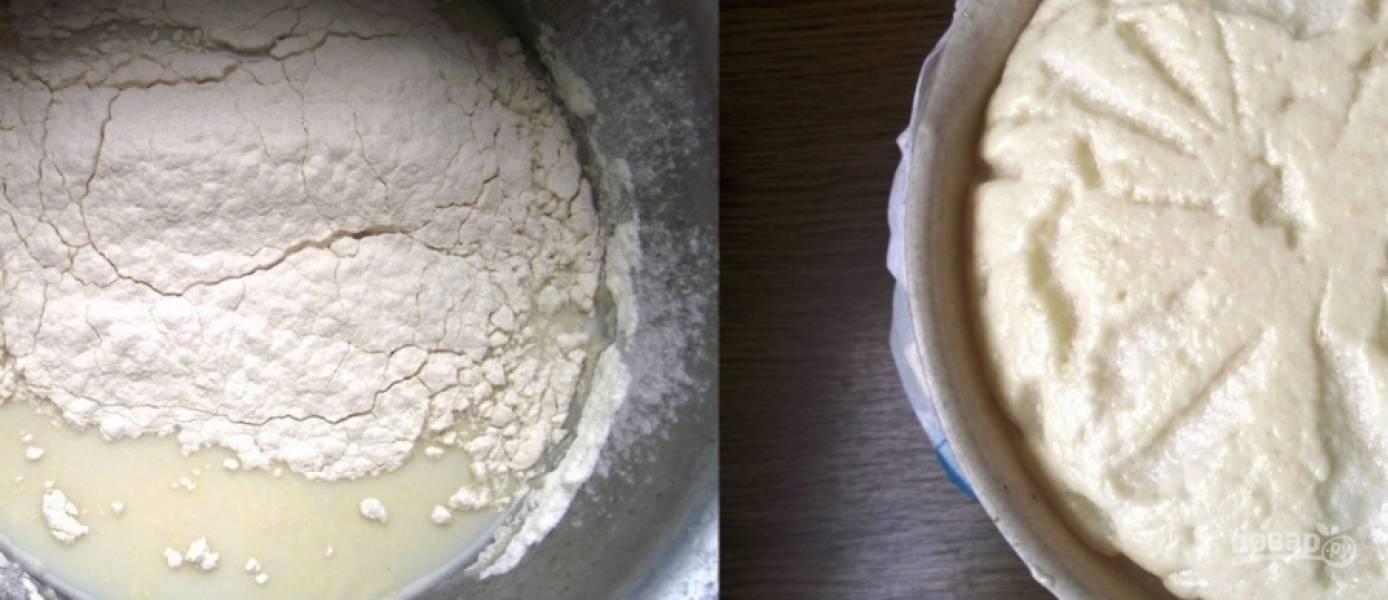 2. Дальше просто добавим к яйцам остаток воды, дрожжевую смесь, растопленное масло и муку. Тесто оставим, чтобы оно два раза поднялось. Поднимается — обминаете его, и пусть постоит еще немного. Получится вот такая красота.