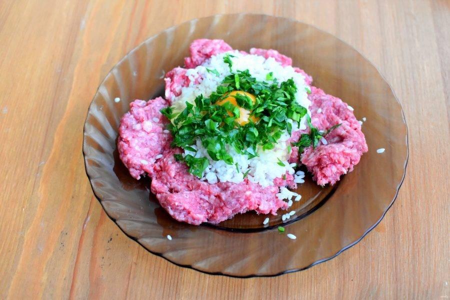 Мякоть пропустите через мясорубку и смешайте с хорошо промытым рисом, рубленными зеленым луком и петрушкой. Посолите и поперчите фарш, добавьте яйцо.