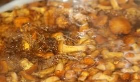 Грибы тщательно перебираем, промываем и отвариваем в подсоленной воде 15 минут.
