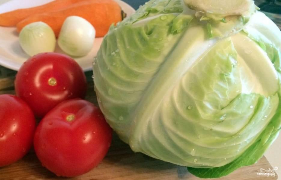 Все овощи помойте, которые необходимо - почистите. Лук и помидоры нарежьте кубиками, морковь крупно натрите, капусту тонко нашинкуйте.