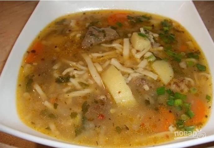 Суп с лапшой и машем