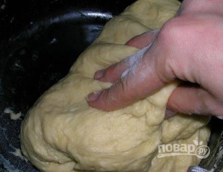 Хорошо вымешанное тесто ставим в теплое место и накрываем полотенцем, пусть подходит. Когда тесто вырастет, приминаем — и пусть подойдет еще раз.