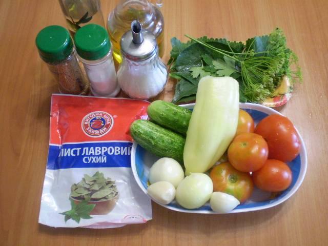 Приготовим необходимые продукты. Все ингредиенты указаны из расчета на 1 литровую баночку или 2 по 0,5 литра.