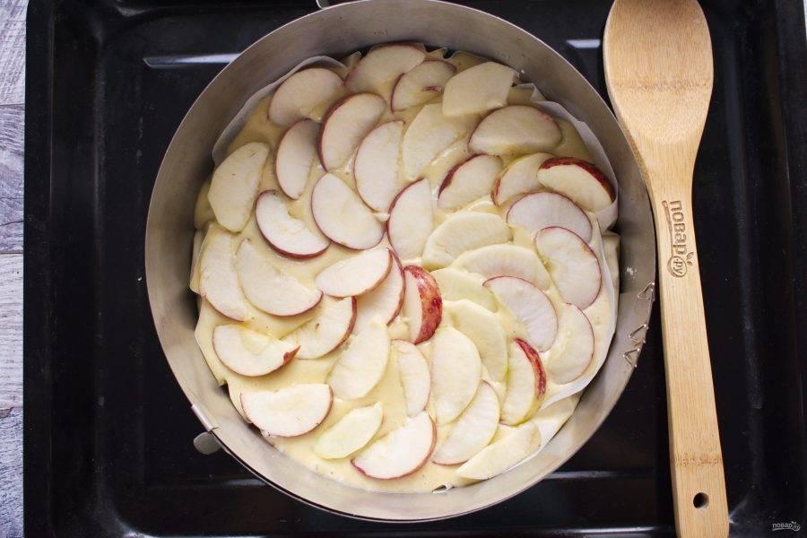 Разъемную форму для выпечки выстелите пергаментом, смажьте маслом. Вылейте тесто в форму (диаметр - 22 см), сверху выложите тонкие ломтики яблок. Поставьте запекаться в разогретую до 180°C духовку на 40-50 минут. Готовность проверяйте зубочисткой. Проткните зубочисткой пирог в середине, она должна выйти сухой.