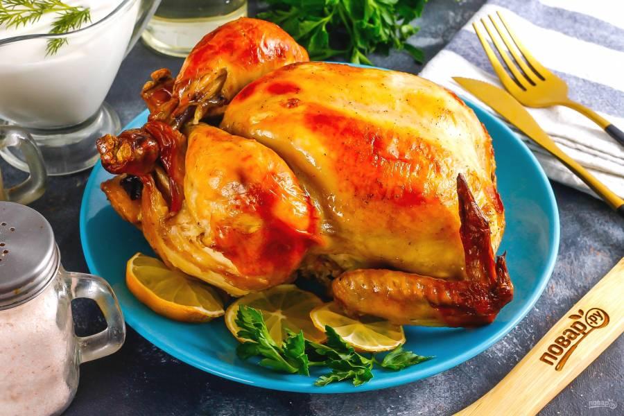 Цыпленок с черносливом в духовке
