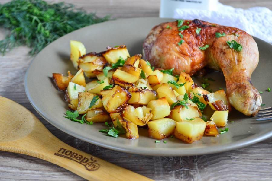 Курица с картошкой в соевом соусе в духовке