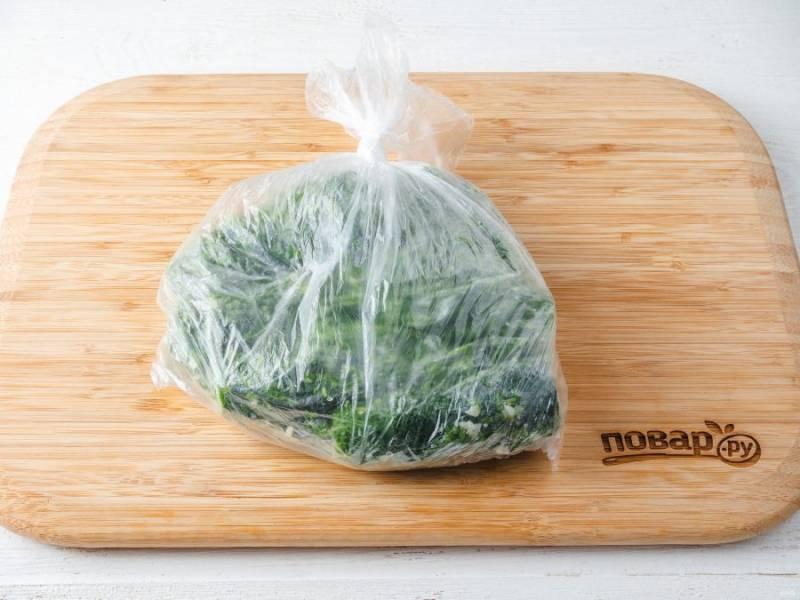 Завяжите пакет и аккуратно всё распределите, потрясите и перемешайте. Уберите пакет в холодильник на 9-10 часов. Можно в процессе засолки несколько раз «потрясти».