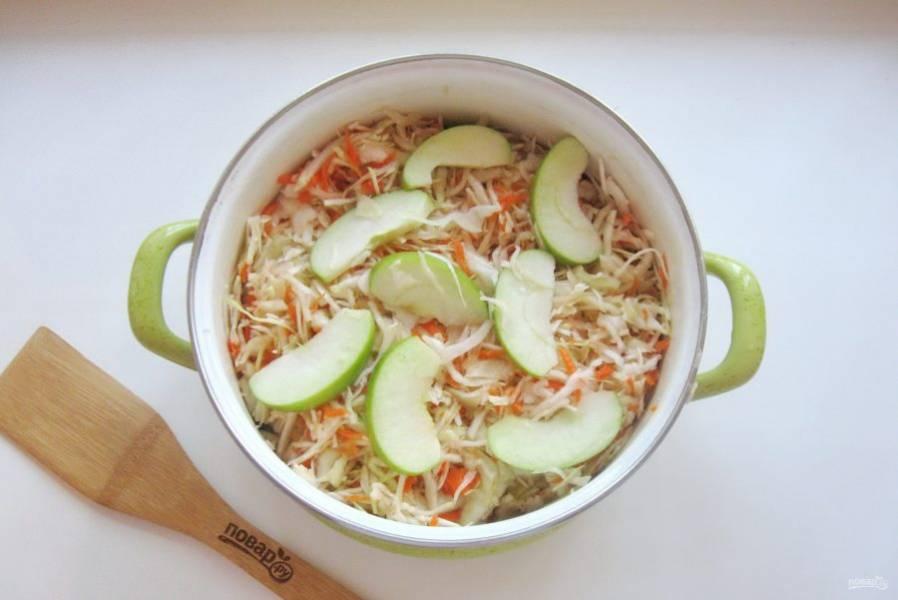 Переложите капусту с морковью и яблоками в кастрюлю или стеклянную банку. Налейте 1 литр холодной кипяченой воды. Прикройте кастрюлю крышкой, но не накрывайте полностью, чтобы был доступ воздуха.
