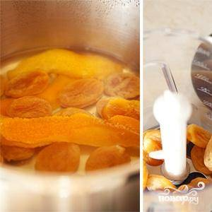 Кладем в кастрюльку курагу и корку четверти апельсина, отвариваем в воде 15 минут. Курагу достаем из воды, все остальное выбрасываем. Курагу измельчаем в блендере до консистенции пюре.