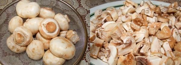 Промойте грибы, а затем мелко нарежьте. На растительном масле, обжариваем грибы с измельченным луком.