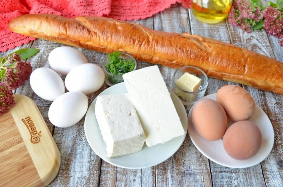 Подготовьте необходимые продукты. Три яйца отварите вкрутую, если яйца крупные, то двух будет достаточно.
