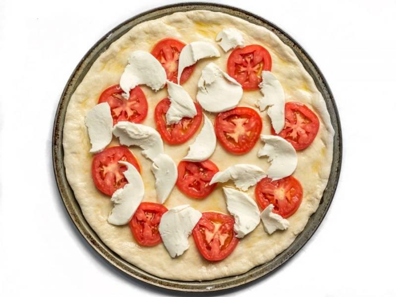 6.Сверху положите помидоры и кусочки моцареллы.