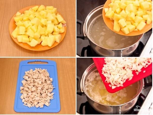 2. Картофель очистите и нарежьте на небольшие кубики. Отваренное куриное филе также нарежьте небольшими кусочками. Далее добавьте в бульон картофель и лук.