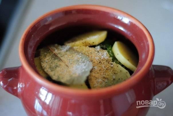 4. Добавьте нарезанный тонкими ломтиками картофель, соль, перец и специи по вкусу. Влейте в горшочек немного воды или бульона. Накройте крышечками и отправьте в духовку (разогревать ее предварительно не нужно).