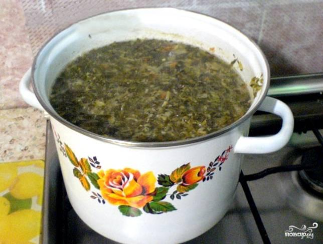 Через 5-10 минут закладываем нашу щеницу (или просто квашеную капусту). В щи можно положить нарубленный чеснок и лук, хоть по рецепту это делать необязательно. Но так мне кажется вкуснее. Хотя лук и чеснок можно подать потом отдельно, вприкуску. Солим, перчим по вкусу. Я еще заложу лавровый лист. Варим суп на медленном огне в течение часа.