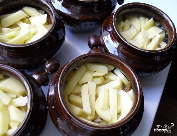Сверху выкладываем нарезанный не крупно картофель. Накрываем горшочки крышками и ставим в духовку. Устанавливаем температуру 220 градусов и тушим наше жаркое приблизительно час-час двадцать минут.