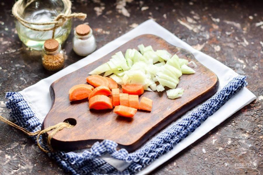 Очистите морковь и лук, овощи сполосните, просушите. Нарежьте морковь брусочками, луковицу нарежьте небольшими кубиками.