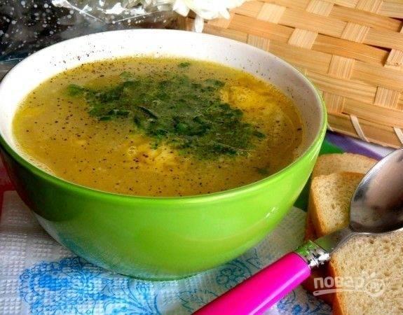 Варите суп ещё 30 минут. В конце добавьте масло и измельчённую зелень. Приятного аппетита!