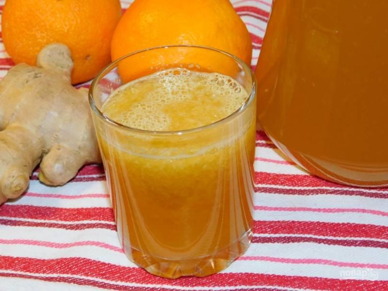 Бодрящий имбирный напиток с апельсинами