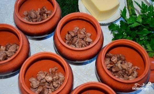 Кусочки мяса переложите в горшочки. Посолите и поперчите его.