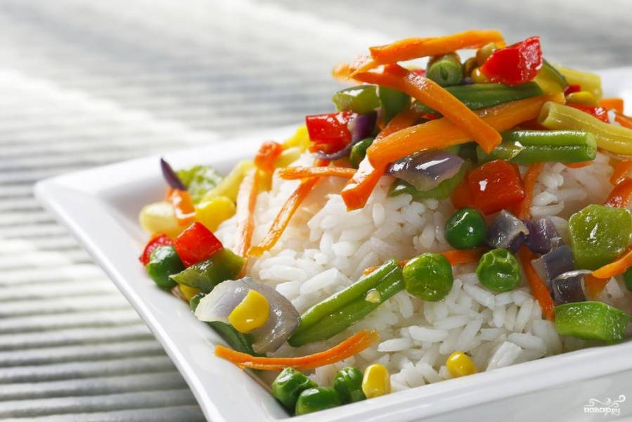 Рис с грибами и овощами на пару