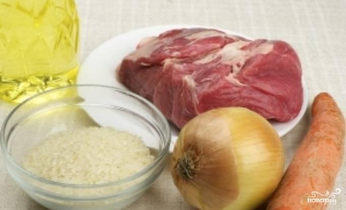 1. Рецепт приготовления рисового супа с мясом чрезвычайно простой. Для начала необходимо подготовить все ингредиенты.