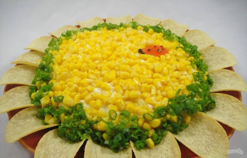 6.Украсьте салат чипсами по кругу, а также оставшимся зеленым луком и подавайте.