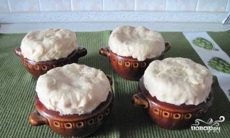Из колобков теста делаем лепешки, которыми затем накрываем горшочки. Можно смазать лепешки маслом или желтком. Ставим их в разогретую до 200 градусов духовку минут на 20-25, пока лепешки не испекутся.