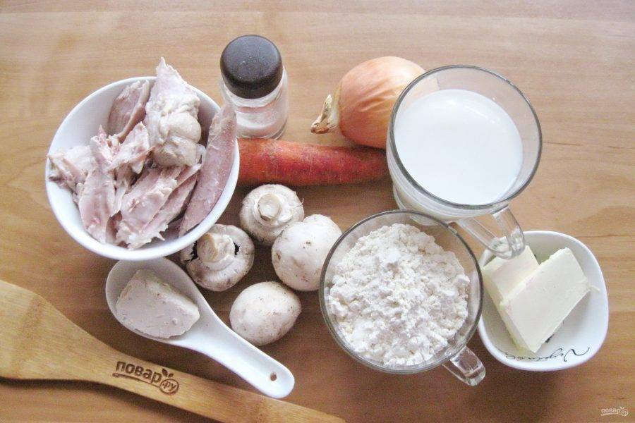 Подготовьте ингредиенты для приготовления кулебяки.