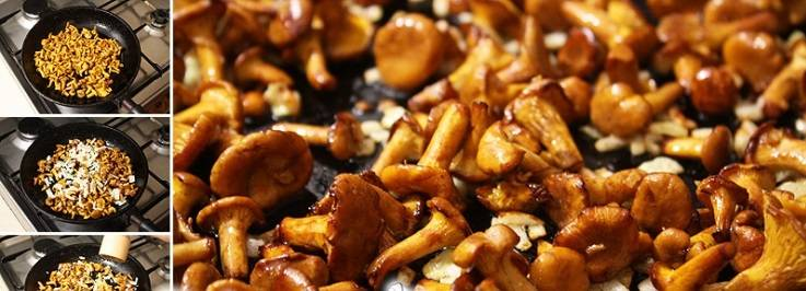 На сковороде разогрейте растительное масло, обжарьте в нем лисички и порезанный репчатый лук.
