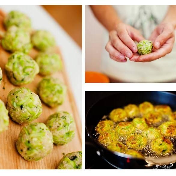 Из получившейся мякоти скатываем шарики размером с грецкий орех. Обжариваем шарики 2-3 минуты в раскаленном оливковом масле.