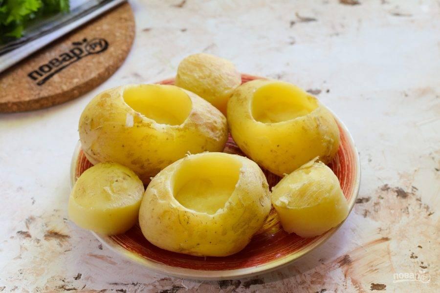 Молодой картофель отварите 15 минут, после удалите серединку картофеля, можно при помощи круглой формы, небольшого диаметра.