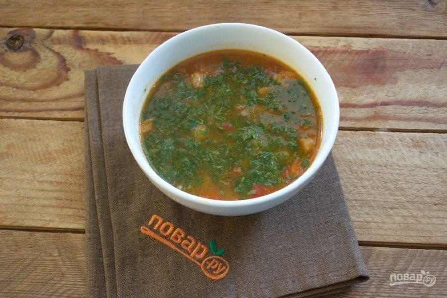 Измельчите зелень, разложите по тарелкам. Влейте суп и подайте к столу.