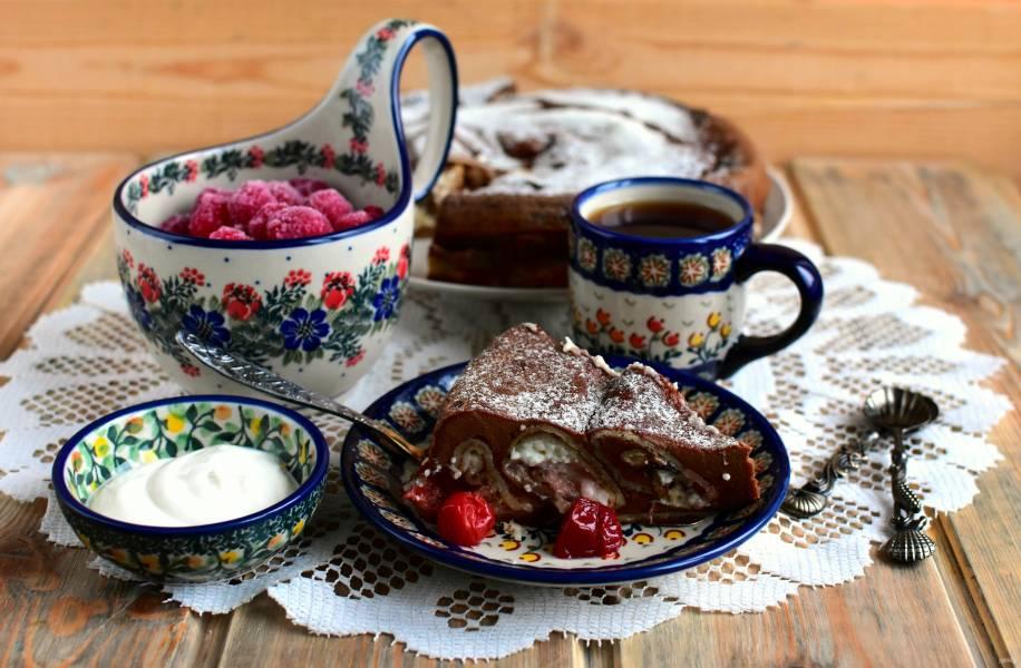 Блинный торт с шоколадной заливкой