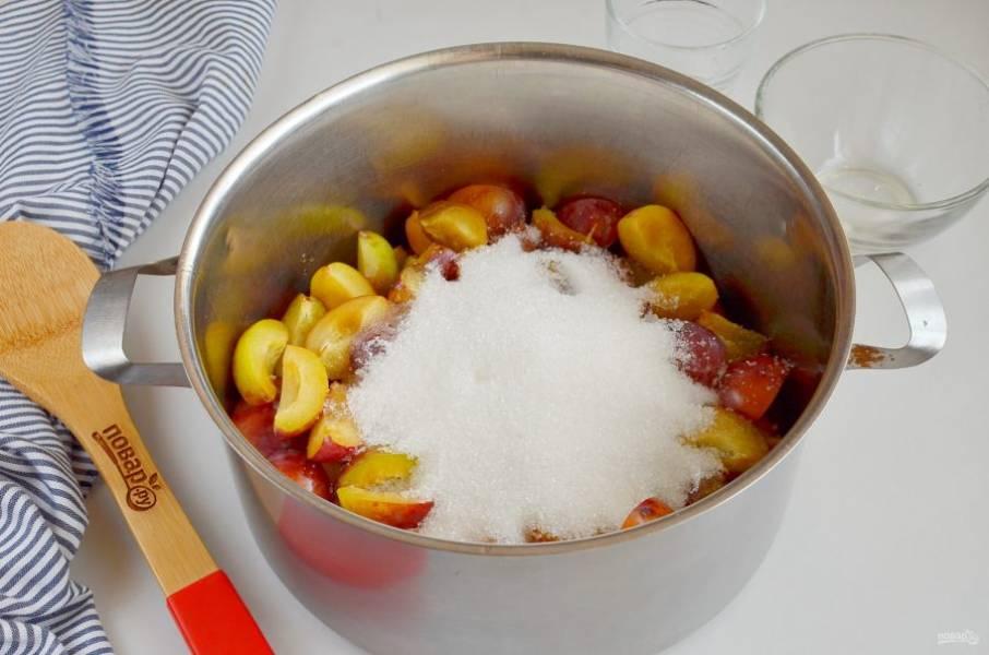 Влейте воду в кастрюлю, выложите сливы, всыпьте сахар.