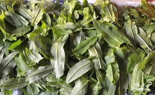 Щавель хорошо промойте, удалите всю лишнюю траву. Уложите листики на полотенце, дайте им высохнуть.