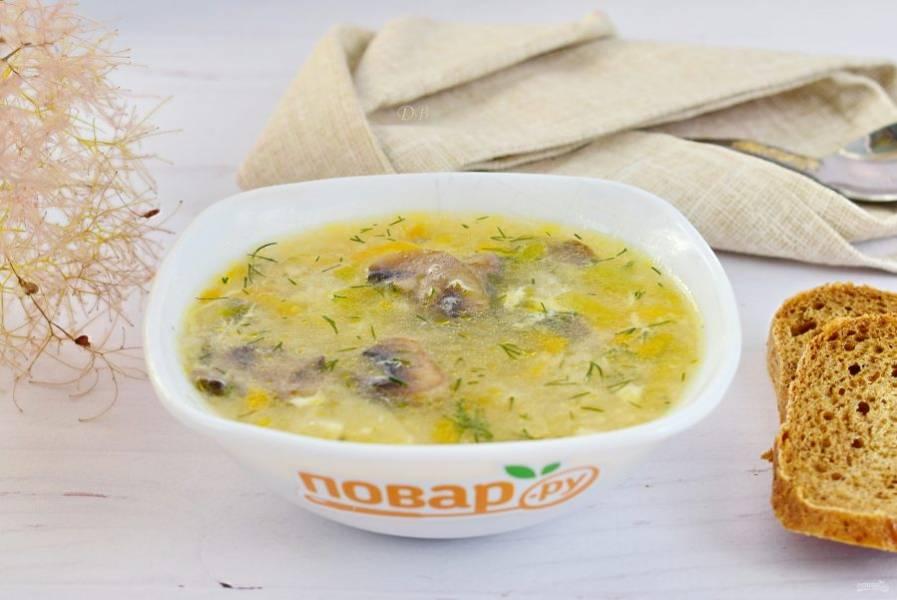 Подавайте грибной суп с рубленой зеленью. Приятного аппетита!