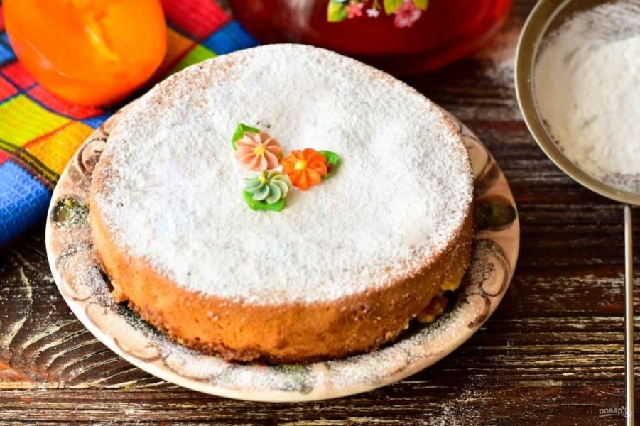 Пирог с творогом и хурмой готов! Приятного аппетита!